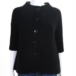 Vince Black Wool 3/4 Sleeve Button Front Cardigan
